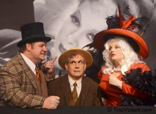 L-R: Ken Clement (WC Fields), Terry Cain (Man at Piano), Margot Moreland (Mae West)